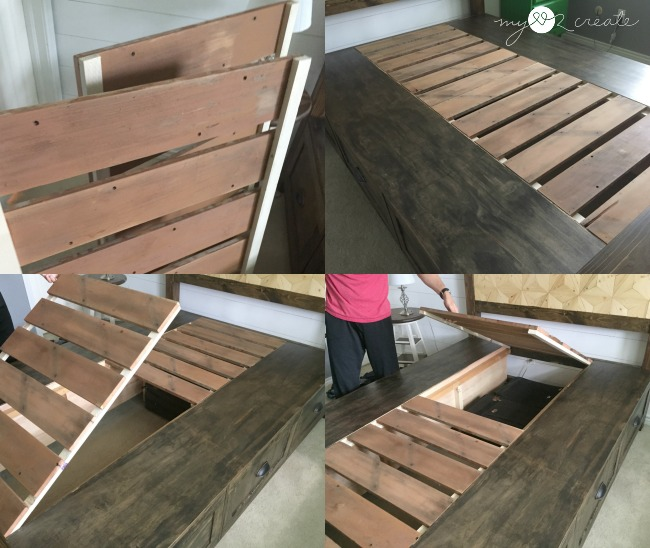 Easily remove slats from farmhouse storage bed for extra under the bed storage