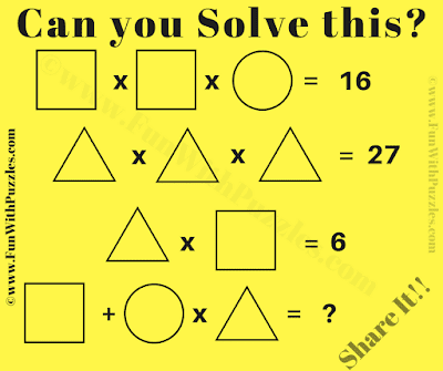 This Mathematics Brain Teaser is for school students in which one has to solve given algebraic equations