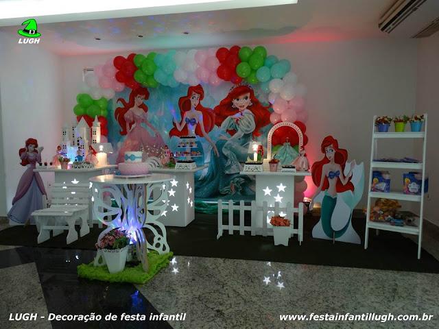 Tema da Ariel para festa infantil - decoração de festa de aniversário realizado na Barra RJ
