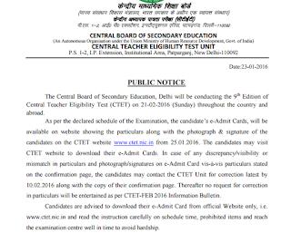 CTET 21.01.2016 Admit card