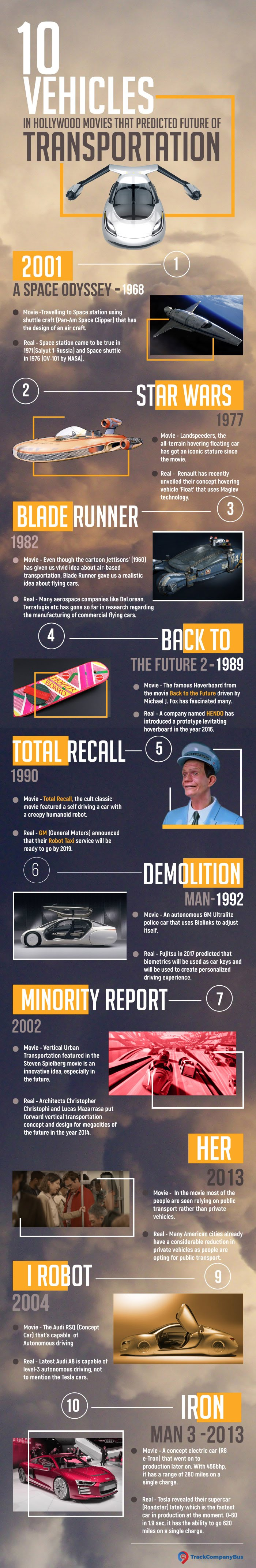 10 Vehicles In Movies That Predicted Future Of Transportation #infographic