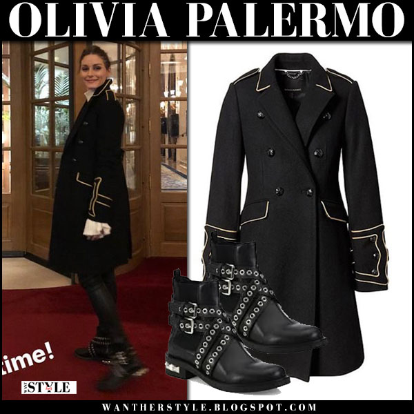 Olivia Palermo in black military coat banana republic and black ankle boots miu miu street style january 2018