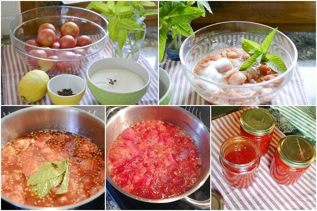 Mermelada de tomates con menta fresca
