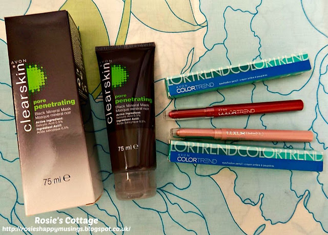 Avon Clear Skin Pore Penetrating Face Mask & Color Trend Eyeshadow Pencils