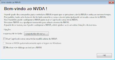 tela inicial do NVDA