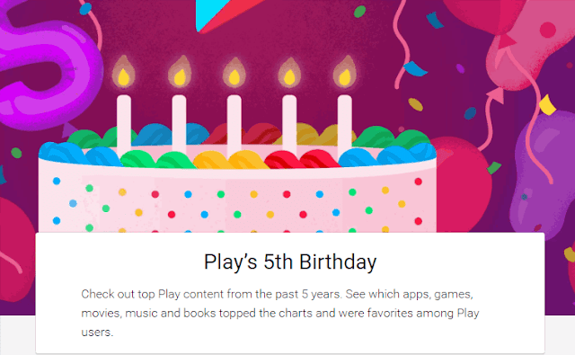 Logo 5 anni compleanno Google Play