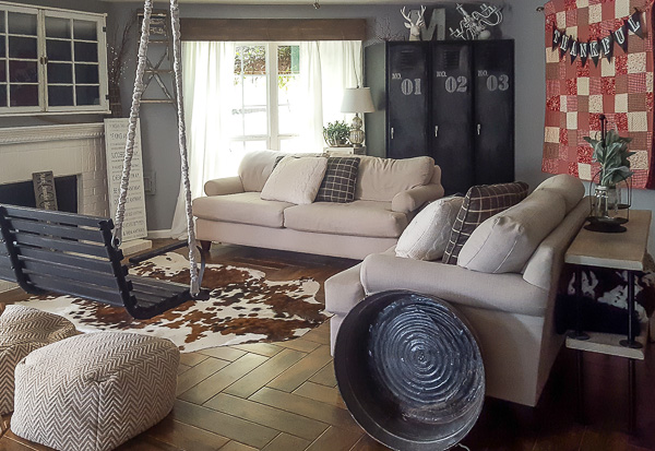Upcycled farmhouse living room | diy beautify
