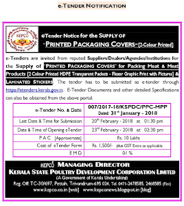 eTender Notice for the Supply of PRINTED PACKAGING COVERS and  LAMINATED STICKERS