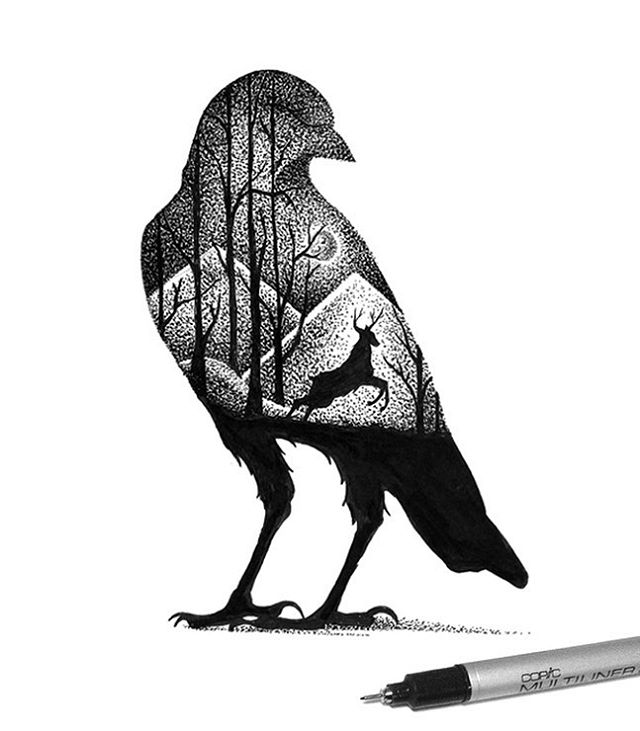 04-Crow-and-Deer-Thiago-Bianchini-Eclectic-Collection-of-Drawings-and-Illustrations-www-designstack-co