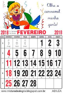 Calendário de 2018 ilustrado