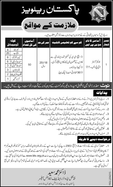 Junior Auditors Jobs in Pakistan Railways