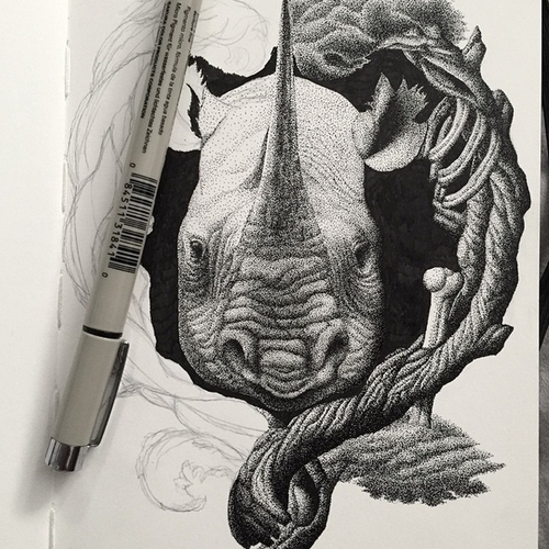 14-Rhino-Kyle-Leonard-Miniature-Drawings-of-Human-and-Environment-Struggle-www-designstack-co