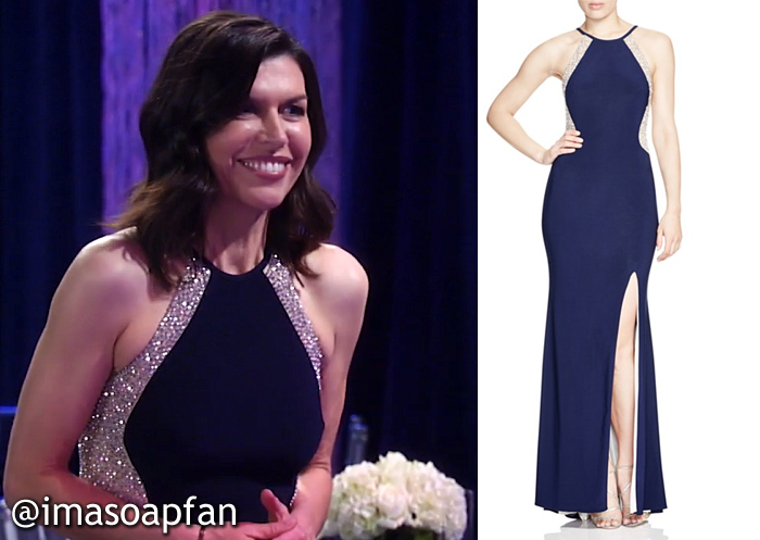 Anna Devane, Finola Hughes, Navy Blue and Silver Beaded Illusion Gown at the Nurses Ball, Avery G, GH, General Hospital