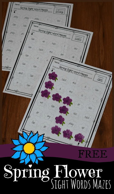 FREE Spring Flower Sight Words Maze Worksheets - these free printable worksheets for preschool, kindergarten, and first grade kids to practice sight words. #sightwords #kindergarten #spring