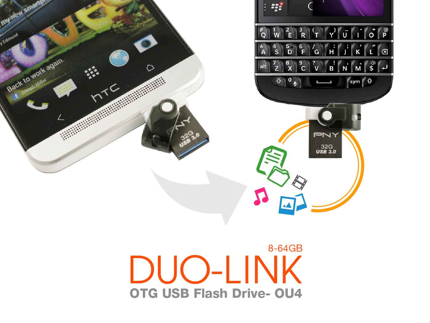 PNY 2-in-1 DUO-LINK OU4 OTG USB 3.0 Flash Drive