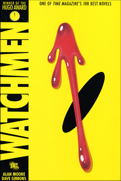 'Watchmen' book cover of extreme close-up on smiley-face showing only one black oval 'eye' against yellow field with red splotch of blood