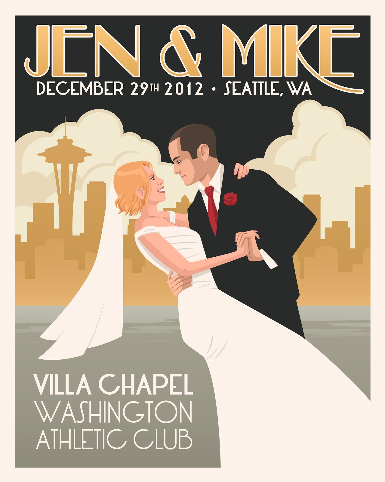 The Art Of M. S. Corley: Jen & Mike Wedding Poster