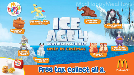 Ice Age 4 Toys Happy Meal Toys