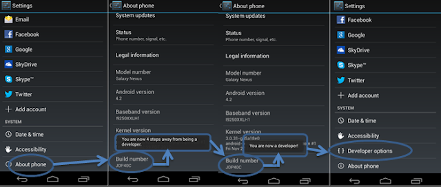 cara menampilkan developer options android