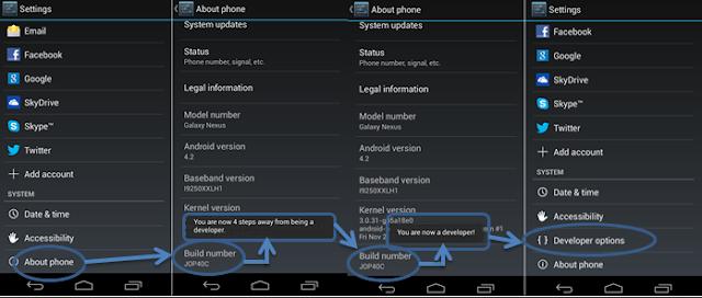 cara menampilkan developer options android