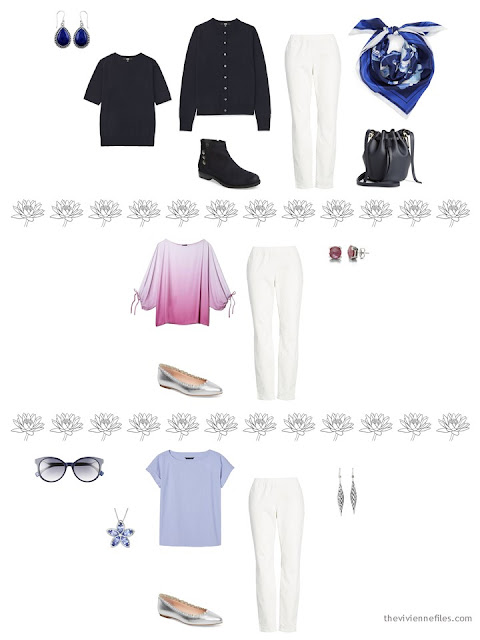 3 ways to wear ivory denim pants from a 4 by 4 Wardrobe inspired by Monet