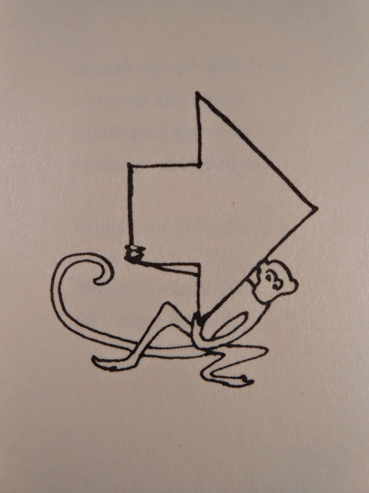 A simple pen drawing of a monkey holding a giant arrow.