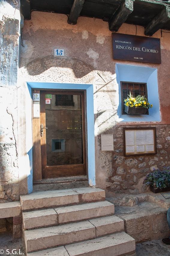 Comer en Albarracin. Restaurante rincon del Chorro.