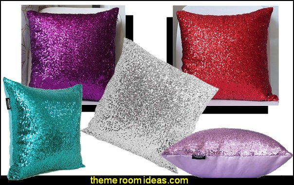 sequin pillows throw pillows fun pillows throw pillows I Dream of Jeannie theme bedrooms - Moroccan style decorating - Jeannie bedroom harem style - Arabian Nights theme bedrooms - bed canopy - Moroccan stencils - I dream of Jeannie bottle - satin bedding - throw pillows - Moroccan furniture