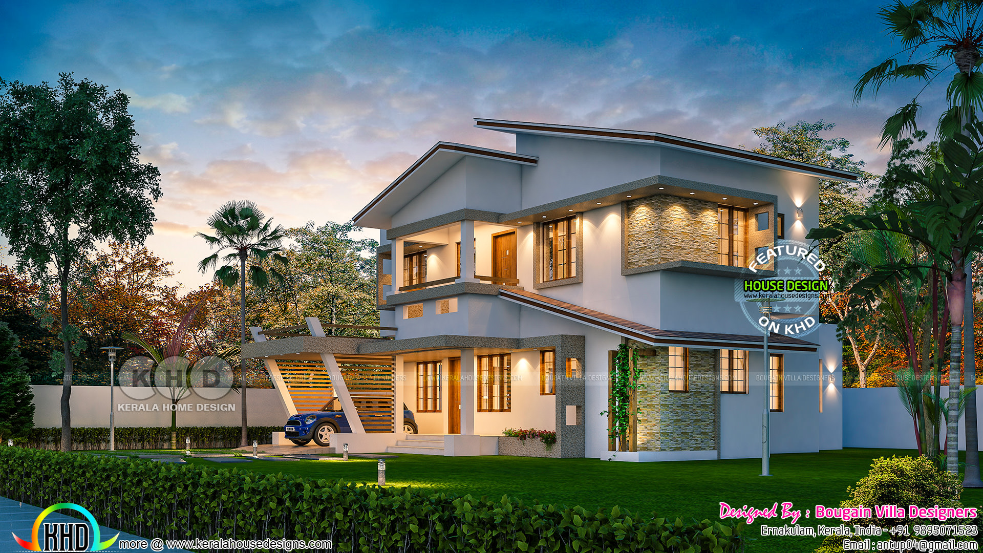 Design of a ultra modern classic style 4bhk house kerala
