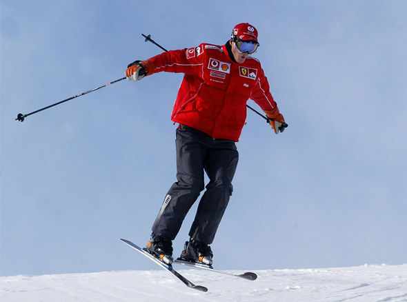 Schumacher, pictured going over a jump, was a keen skier until his accident