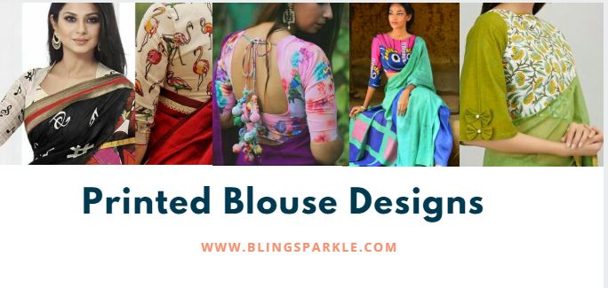 36 Printed Blouse Designs For Sarees With Trendy Neck Patterns