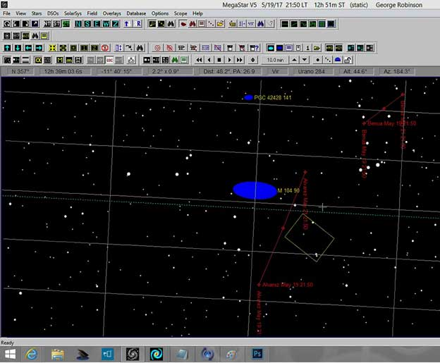Using AIP4WIN and Megastar to overlay asteroid tracks on photo image (Source: Palmia Observatory)