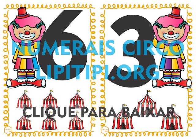 Numerais de Parede 0 a 9 Circo