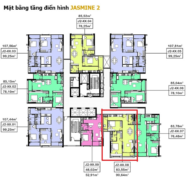 vị trí căn hộ bán trong tòa nhà Jasmine 2