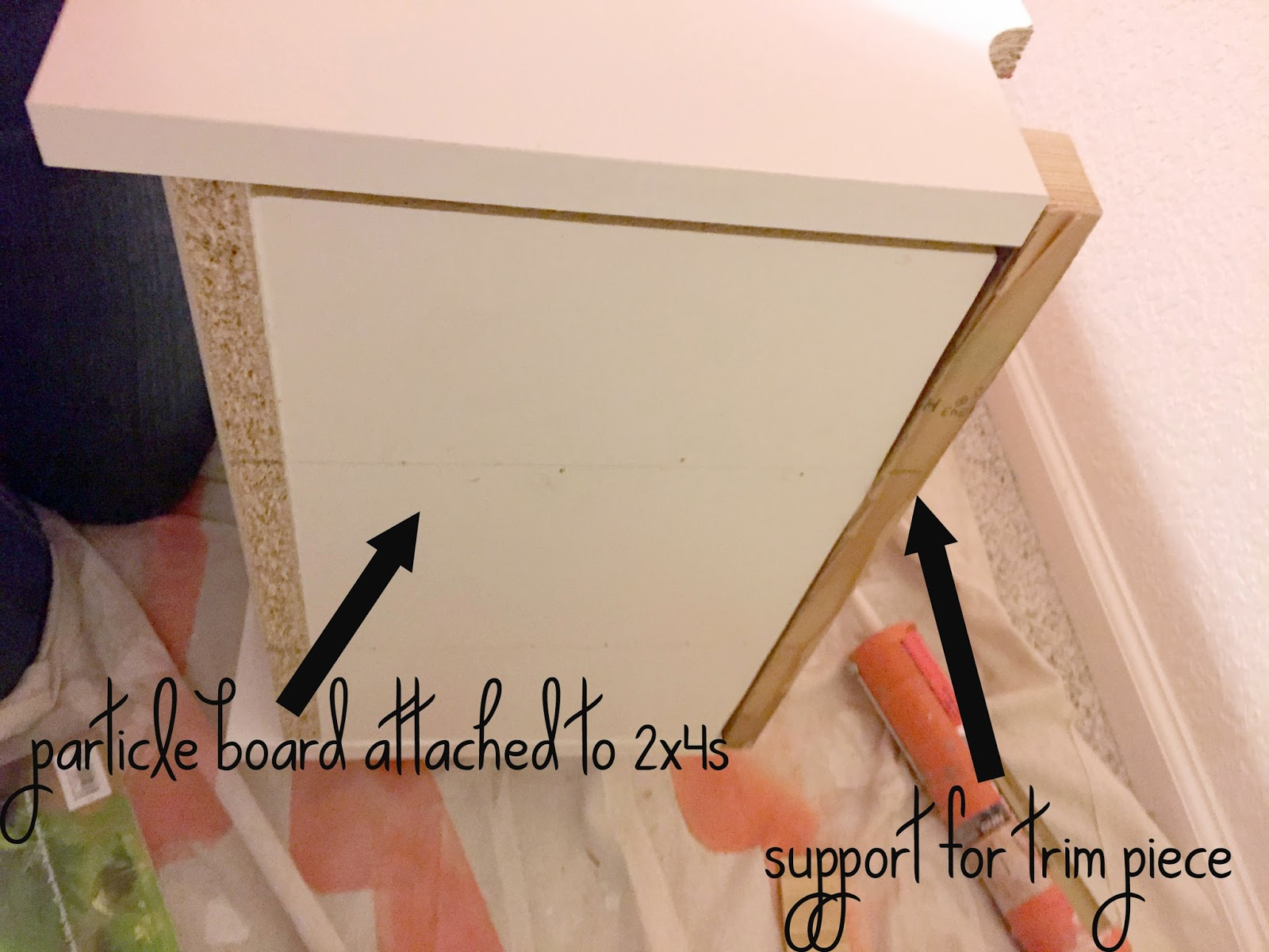 Next I Added Some Painted Corner Molding To The Edges And Top Of Bookcase Cover Exposed Edge Particle Board