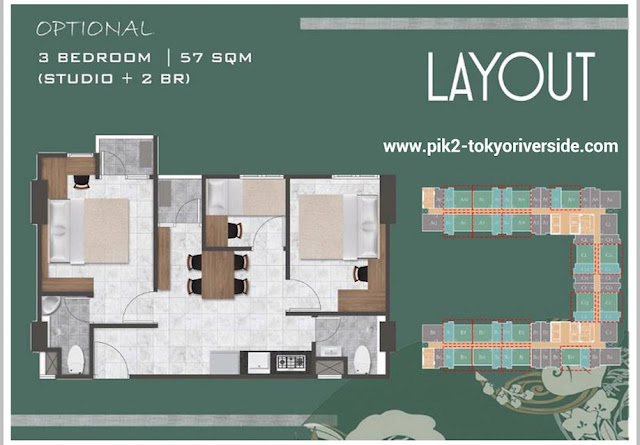 Denah Unit 3 BR PIK 2 Apartemen Tokyo Riverside