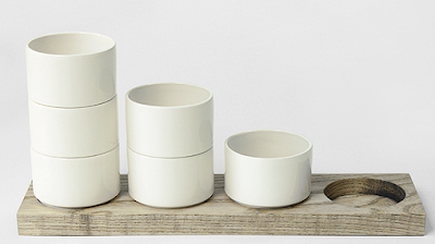 desk tidy made from stacking ceramic cylinders