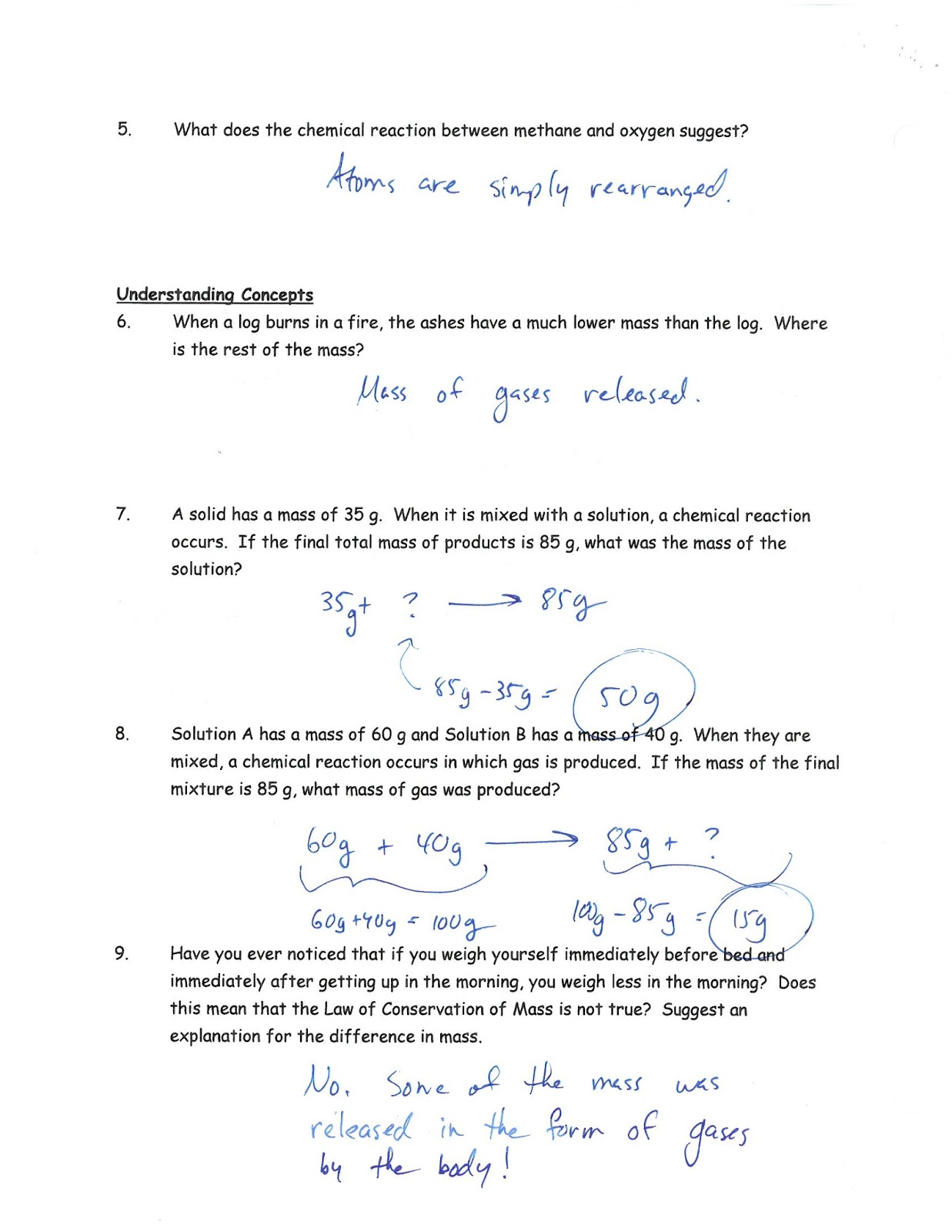 Chemistry: Chemical Word Equations