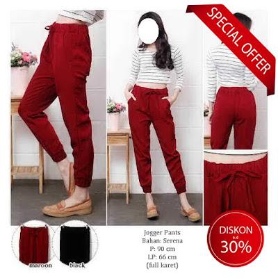Celana jogger pants wanita murah casual celana bahan baju impor grosir korea murah