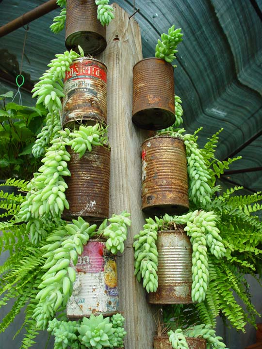 Tin Can Tower Recycled Garden Water