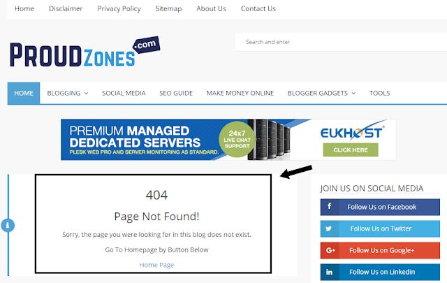 Custom error page blogger