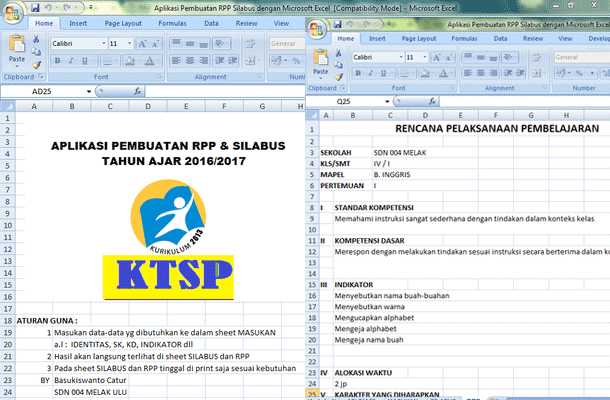 Aplikasi Pembuatan RPP Silabus Format Microsoft Excel