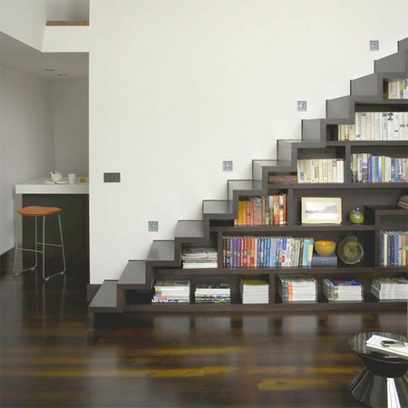 Bookcase built into stairs