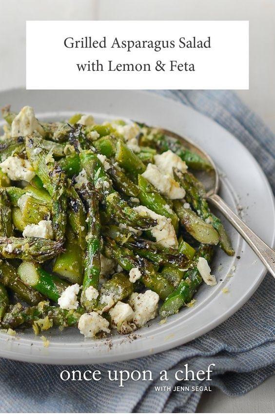 Grilled Asparagus Salad With Lemon & Feta