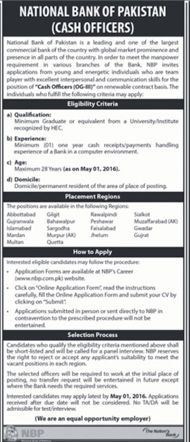 Jobs of Cash Officer in National Bank Jobs