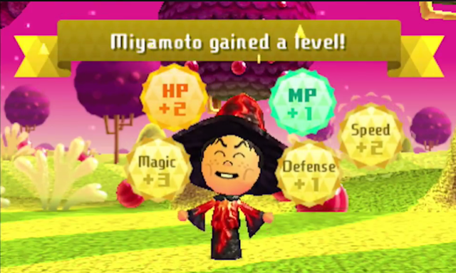 Miitopia Nintendo 3DS Direct game Shigeru Miyamoto gained a level wizard stats Mii RPG