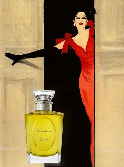 Illustration of model in evening gown with Dioressence by Dior perfume in forefront