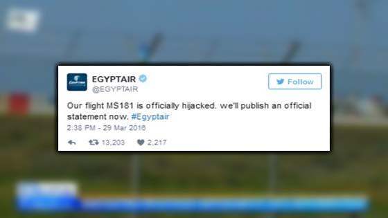 Berita Pesawat MS181 EgyptAir Dirampas