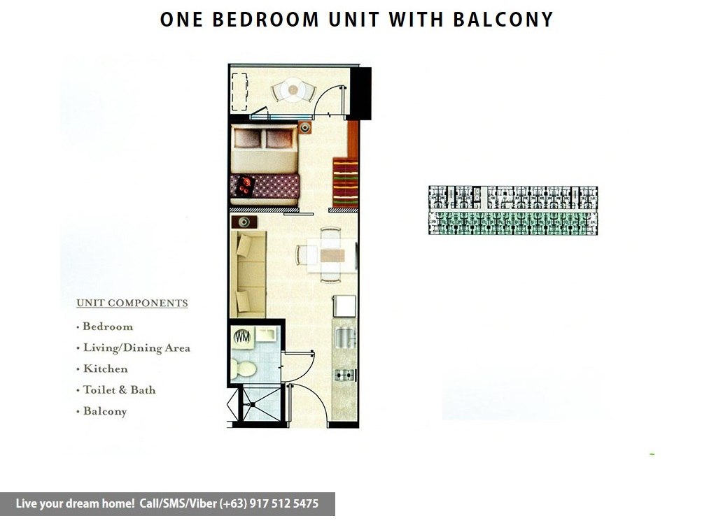 Floor Plan of SMDC Grace Residences - 1 Bedroom With Balcony | Condominium for Sale Taguig
