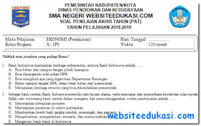 Soal PAT/UKK Ekonomi Kelas 10 K13 Tahun 2018/2019